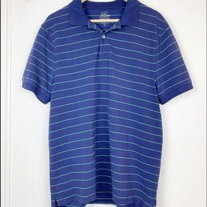 J Crew navy classic polo with green stripes